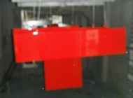 Lacquered shelf in glossy special red